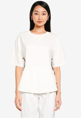 GLOBAL WORK white Contrast Print Knit T-Shirt 290ADAAEA5FBF1GS_1