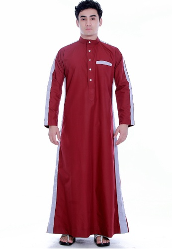 Amar Amran grey and red Jubah Alif For Men AM362AA88CLRMY_1
