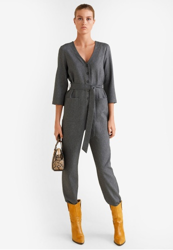 Mango grey Long Check Jumpsuit F091EAA3D1D02EGS_1