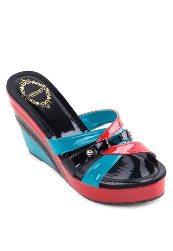 多色楔形涼鞋, 女鞋, 楔zalora 衣服尺寸形鞋