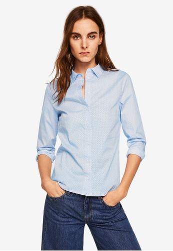 Mango blue Printed Cotton Shirt 3F848AA4C3881BGS_1