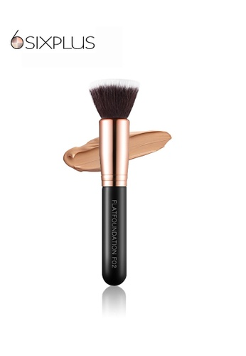 SIXPLUS black and brown and gold SIXPLUS Flat Top Foundation Brush F02 2F6C3BE19FF00AGS_1