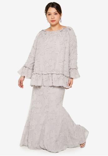 Lubna grey Plus Size Flare Sleeve Frill Kurung 71447AACD75DA6GS_1