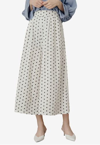 Kodz white Side Pockets Polka Dot Culotte Pants ED470AA8DB4594GS_1
