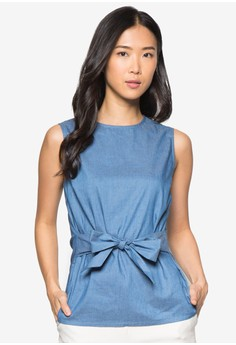 Collection Tie Front Chambray Top