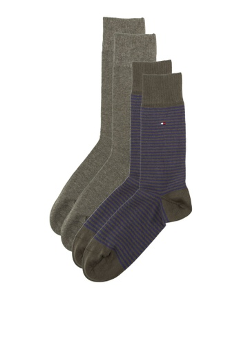 Tommy Hilfiger green and blue TH MEN SMALL STRIPE SOCK 2P TO729AA10WPXSG_1