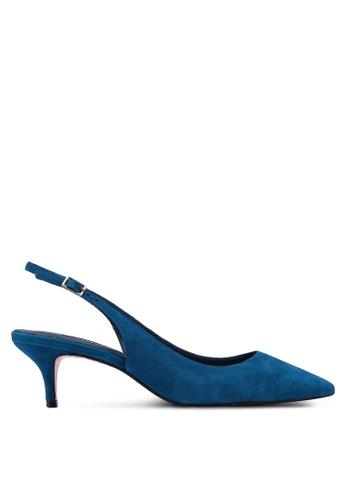 Dune London blue Casandra Sling Back Kitten Court Heels E09C8SH372082CGS_1