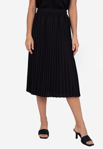 ZALORA WORK black Pleated Flowy Skirt 37EEEAAB9D9968GS_1