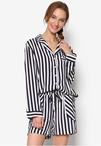 條紋長袖襯衫和短褲睡衣組合esprit台灣網頁, 服飾, 服飾