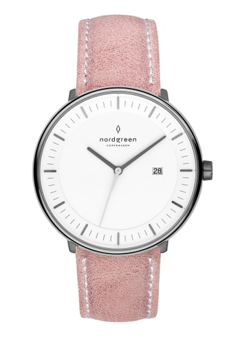 Nordgreen grey and pink Nordgreen Philosopher Gun Metal 36 mm - Pink Leather Watch D9882AC7E73A05GS_1
