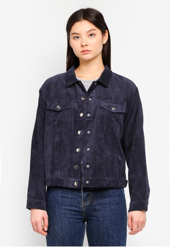Something Borrowed navy Corduroy Trucker Jacket 4EAA2AAAA342B5GS_1