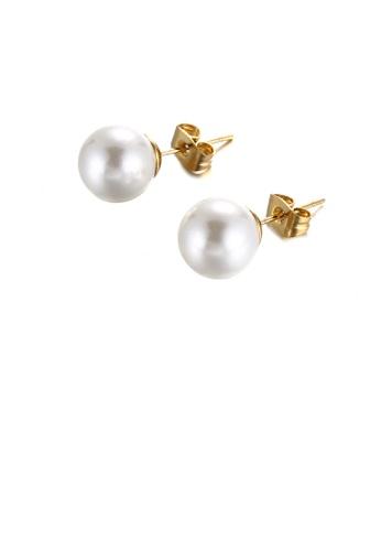 Glamorousky 白色 簡約優雅鍍金色幾何10mm仿珍珠316L鋼耳釘 58E7DACCEC2757GS_1