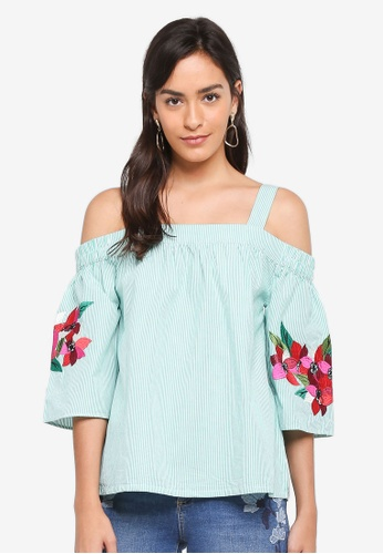 Dorothy Perkins green Green Stripe Embroidered Top 94397AAE12F53DGS_1
