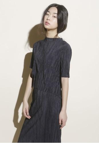 韓式風esprit outlet 香港格褶飾高領短袖上衣, 服飾, 上衣