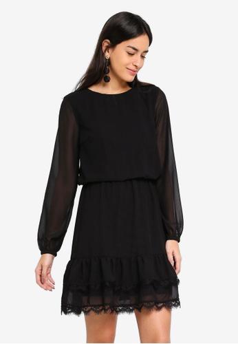 Vero Moda black Joan Long Sleeve Short Dress 19DCEAA95CF1E4GS_1