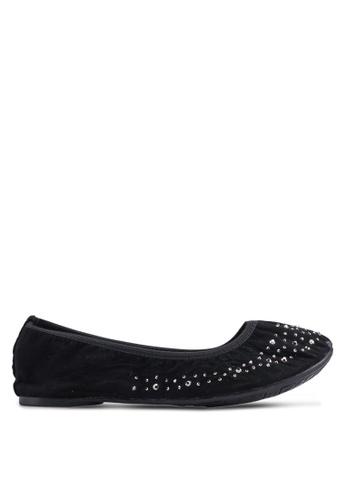 Carlton London 黑色 鑽飾平底鞋 FF1A6SHE0654EBGS_1
