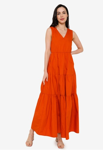 ZALORA BASICS orange Tiered Maxi Dress 6CA98AA208ED3FGS_1