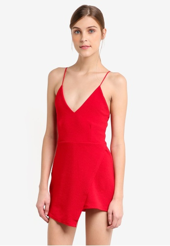 MISSGUIDED red Strappy Crepe Wrap Skort Playsuit 81A69AA2EB1F72GS_1