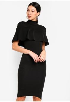 ddabfff9eaf MISSGUIDED black Frill Overlay Midi Dress 05309AAF41B40CGS 1