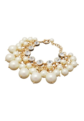 Jaysa Collection white Faux Pearls Bracelet With Clear Crystals 6A814ACA6F83EBGS_1