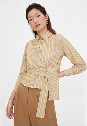 Pomelo brown Side Wrap Button Up Shirt - Brown 764F4AA15DAD2CGS_1