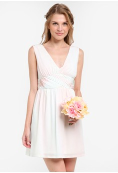 Image of Bridesmaid Cross Front Mini Dress