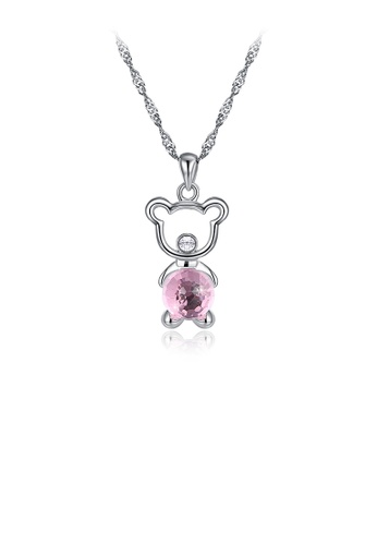 Glamorousky pink 925 Sterling Silver Fashion Cute Little Bear Pendant Necklace  with Pink Austrian Element Crystal 484A8AC89BAB2EGS_1