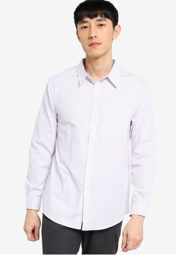 ZALORA BASICS white and purple Regular Fit Stripe Shirt 4F5F5AAB1740D9GS_1