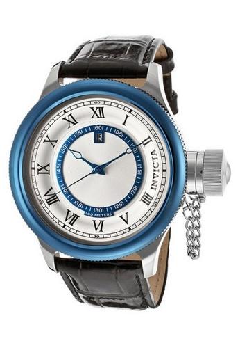 INVICTA black and silver Invicta Russian Diver Men 52mm Case Black Leather Strap Antique Silver Dial Quartz Watch 14080 IN968AC0F5BUSG_1