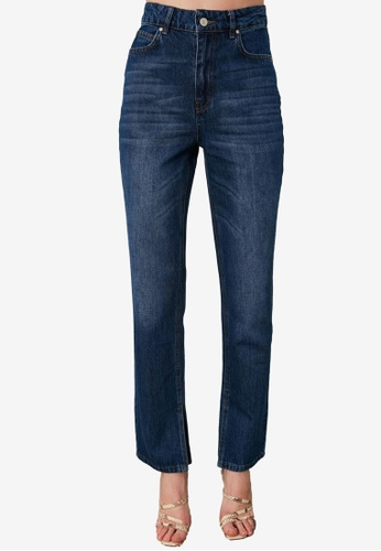 Trendyol blue High Waist Straight Cut Jeans with Slits 0BDA0AAC2AE983GS_1