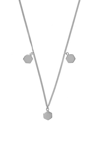 CLUSE silver Essentielle Silver Three Hexagon Charms Necklace 735D2AC7370702GS_1