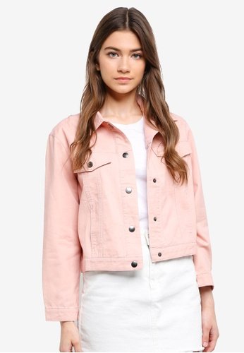 Something Borrowed pink Cropped Trucker Jacket 13F69AA0ADE2CDGS_1