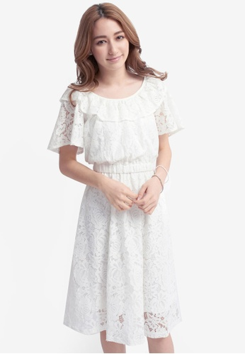 YOCO white Lace Dress with Elastic Waist Band 147EAAAE71EE21GS_1