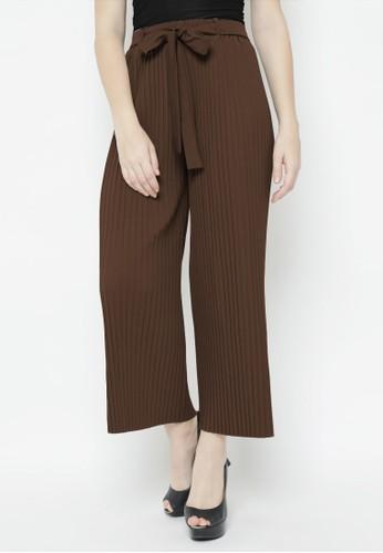 Benangsari brown Straight Pleat Pants Dark Brown BC11EAA943B5FDGS_1
