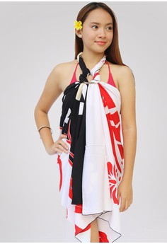 Bunga Delice Black and White Hand Painted Sarong