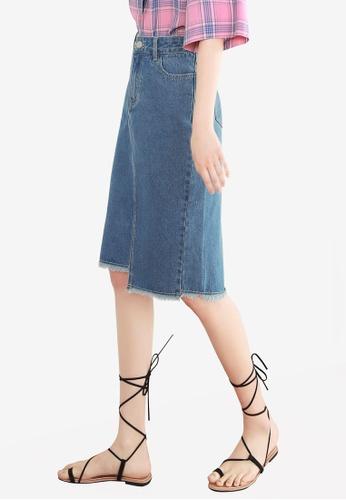 NAIN blue Uneven Hem Denim Midi Skirt DE19CAA27D64D0GS_1