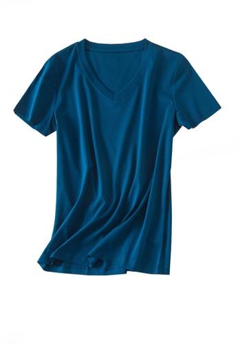 Twenty Eight Shoes navy VANSA V-neck Mercerized Cotton Short-sleeved T-Shirt VCW-Ts1902V B7A73AA04F4A99GS_1