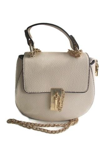 LULUGIFT beige Circle Luxury Beige Pu Leather Metal Chain Sling Bag Size M LU989AC53VHMMY_1