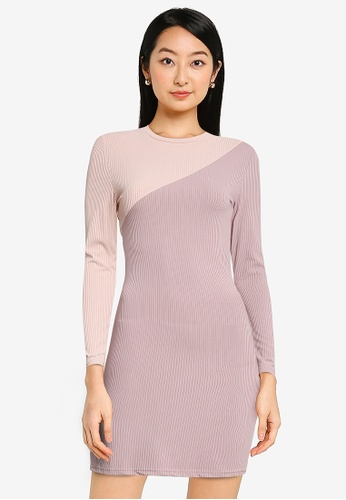 ZALORA BASICS pink and multi Colour Blocked Mini Dress 12368AA081A934GS_1
