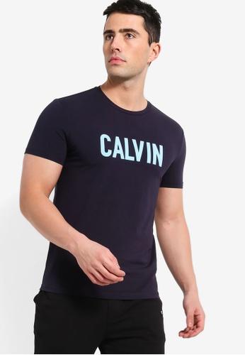 Calvin Klein 海軍藍色 Calvin Flick Box 修身T恤 CEC03AA47BFF4EGS_1