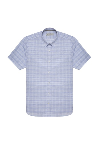 Gieves & Hawkes blue COTTON LINEN BLEND GLEN PLAID SHORT-SLEEVE DRESS SHIRT 74800AA9ACBEB3GS_1