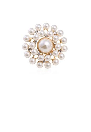 Glamorousky white Fashion and Elegant Plated Gold Geometric Imitation Pearl Brooch 65901AC10838F3GS_1