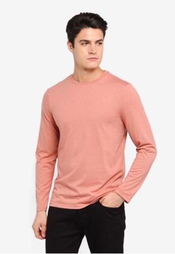 Burton Menswear London orange Coral Long Sleeve T-Shirt BU964AA0T1HQMY_1
