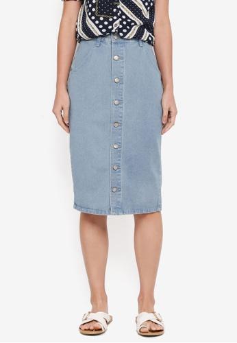 ZALORA blue Button Down Denim Pencil Skirt 1E288AA6EE85DBGS_1