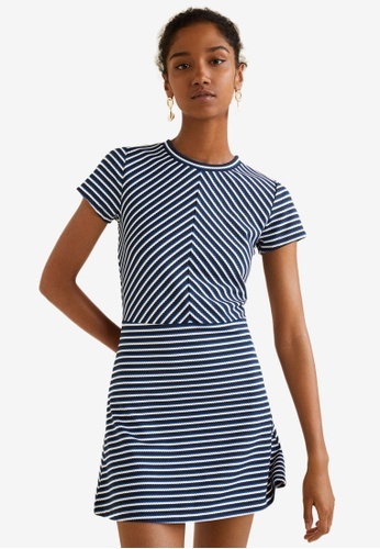 Mango blue Striped Jersey Dress F7EACAA92CEF2CGS_1