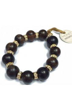 Monet Wood Round Beads Bracelet with Crystal Accents
