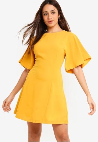 ZALORA yellow Flare Sleeves Dress 83F9BAA137300CGS_1