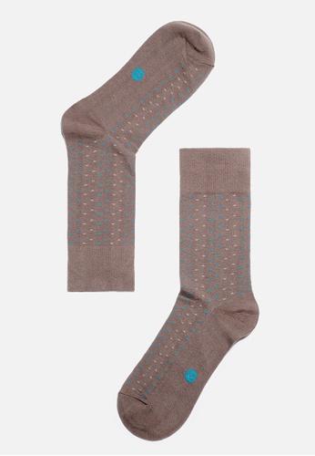 Life8 brown MIT Contrast Color Geometry Cotton Socks-05138-Coffee LI283SH90KOZSG_1