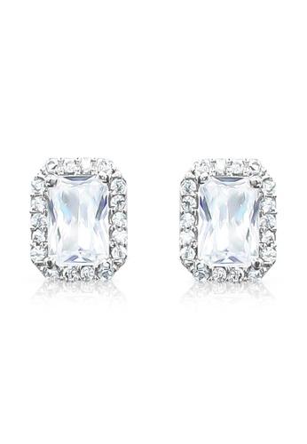 SO SEOUL silver Halo Emerald Cut Diamond Simulant Stud Earrings DA09FACB80C1D2GS_1