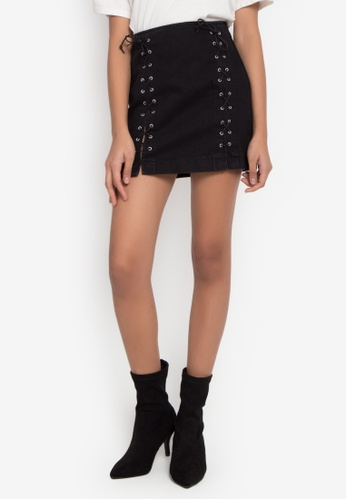 TOPSHOP black Moto Front Lace A-Line Skirt TO099AA0J9VUPH_1
